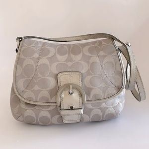 Coach Purse Crossbody Buckle Taupe and Silver